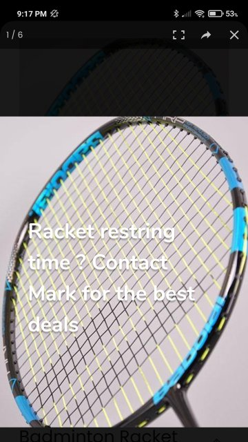 Racket restring time ? Contact Mark for the best deals